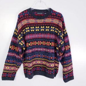 Vintage 80s Multicolor Knit Pullover Sweater Large